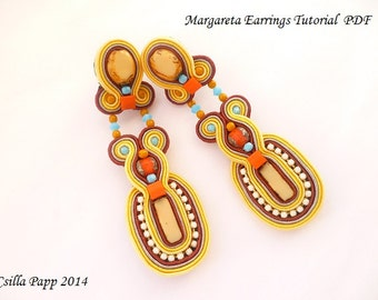 TUTORIAL ONLY Margareta Soutache Earring Tutorial in English PDF Instant download