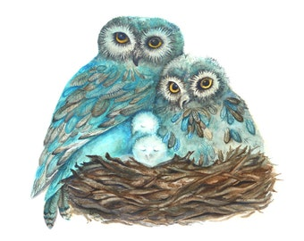 Owl Print from Painting, Proud Parents, Mother's Day Gift, Turquoise Blue and Brown Fall Decor