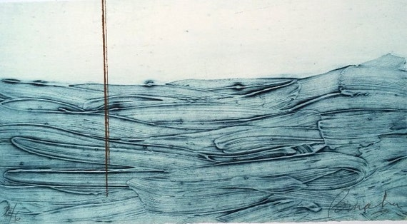 Ocean Collography Printmaking. Original Collography. Abstract Printmaking Landscape. Original Sea Print. Blue and Brown. Minimalism.