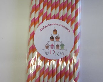 25 Striped Paper Drinking Straws Orange Pink Double Stripe