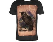 The raven crown vintage effect black tshirt