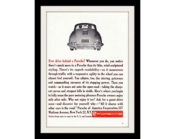 1961 Porsche 1600 Coupe Car Photo Ad, Vintage Advertising Wall Art Decor