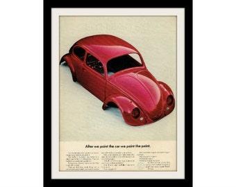 1965 VW Beetle Red Car Ad, Vintage Advertisement Print