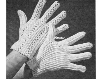 1940s Daytime Gloves with Decorative Details, a Learn How To - Crochet pattern PDF 2332