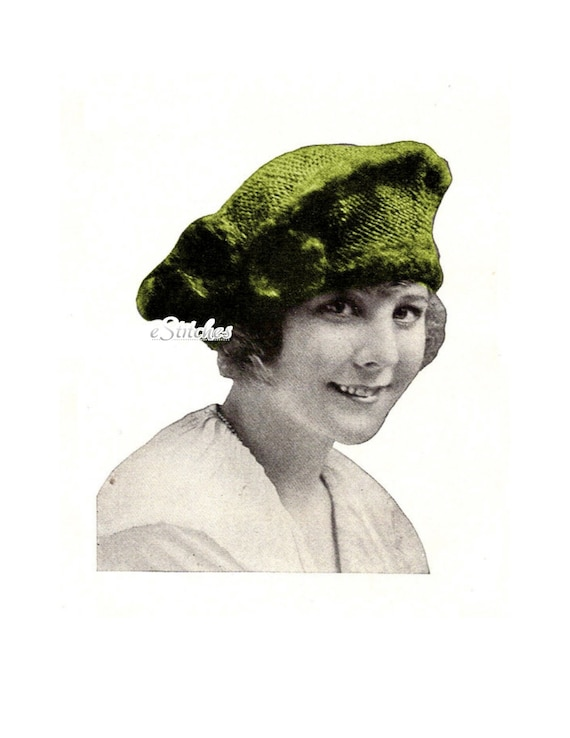 1919 Tam Hat Beret Cap from Edwarian Era  - Knit pattern PDF 1919