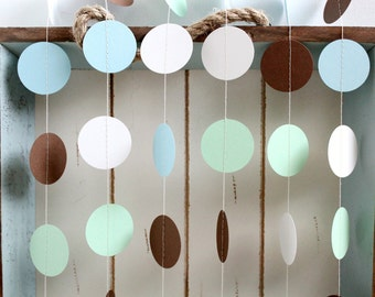 Light Blue, Light Green, White and Brown 12 ft Circle Paper Garland- Wedding, Birthday, Bridal Shower, Baby Shower, Party Decorations