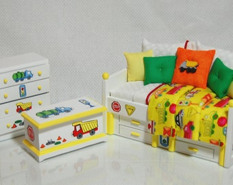 CONSTRUCTION ZONE Dollhouse Miniature Boys Twin Daybed Bedroom Set Hand-Painted 3pc Yellow with Trucks Custom Dressed Bed 1:12