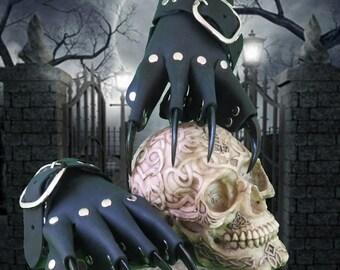 Black Leather Dragon Claw Gauntlets / Gloves Steampunk Goth Gothic BDSM
