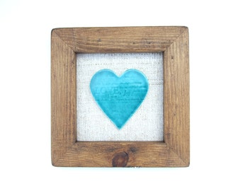 Turquoise heart framed ceramic tile picture, love words, reclaimed wood frame, Wedding, anniversary, Valentine's Day