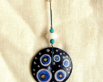 Delicate hand painted wooden pendant circles navy blue white dots turcmenite agate unique jewellery