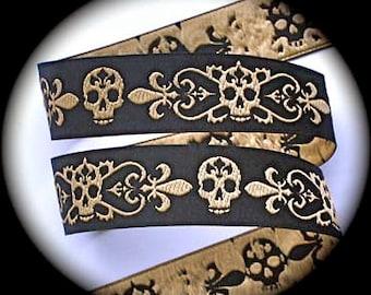 """Fleur de Lis Skull  -  1"""" x 3 yards  Black and Gold - Woven Jacquard Ribbon"""