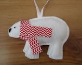 Christmas Ornament - polar bear - chevron red scarf