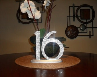 Bling Crystal Rhinestone Wedding Reception Table Numbers
