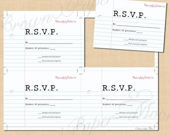Teacher's Pet College-Rule Paper Text-Editable Wedding RSVPs: 5 x 3.5 - Instant Download