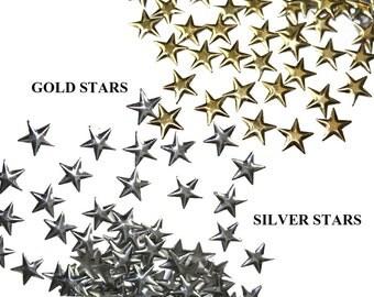 100 PCS  Silver Gold Stars HotFix Nailheads Embellishments