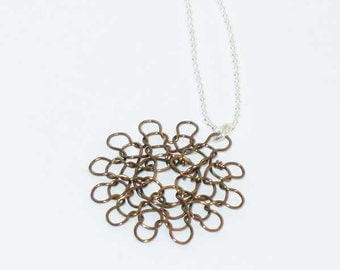 small knit wire necklace in vintage bronze