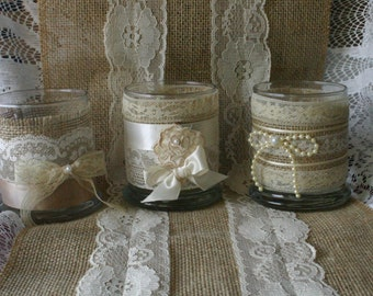 Burlap and lace votives for weddings