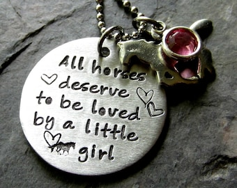 Hand stamped Horse Necklace for Girl-Equestrian-Horse Lover.