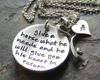 Hand stamped Horse Necklace- Sterling Silver Horse Quote Necklace-Equestrian or Horse Lover Jewelry