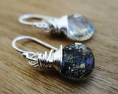 Black Tourmalinated Quartz Earrings - Sterling Silver, Black Rods, Black and White, Dangle