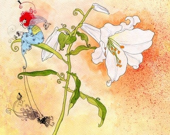 Fairy on a Lily Art Print