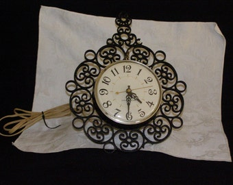 Vintage General Electric Wall Clock Old Art Deco Clock - Made in USA - Black Scroll Works