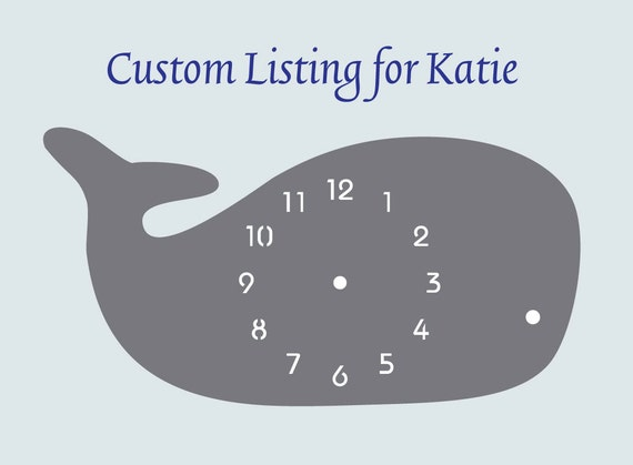 """Custom for Katie: """"Whale in Gray"""" designer wall mounted clock from LeLuni"""