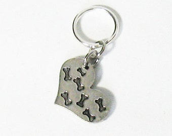Small Mini Bones on Heart Pet Charm, Keychain, Zipper Pull