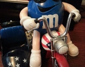 M&M Blue White and Red Motorcycle- Chocolate Dispenser