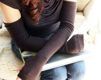 Opera length Fingerless Gloves in Coffee - Merino Wool  Arm Warmers - Extra long fingerless mittens