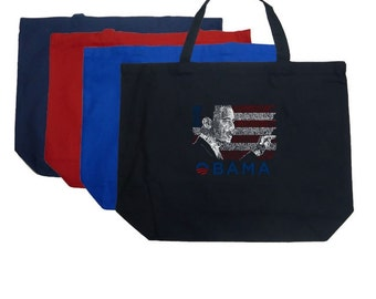 Large Tote Bag - President Barack Obama Created Out of All the Lyrics to America the Beautiful