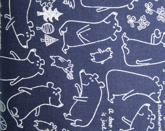 Kokka Japanese Fabric - Kawaii Bear in Blue Linen and Cotton - 1/2 YD