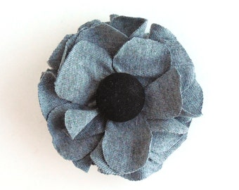 Flower Hair Clip - Fabric Flower Brooch - Gray and Black Flower - Accessory, Repurposed, Recycled Tshirt Jersey Knit Fabric Flower Pin