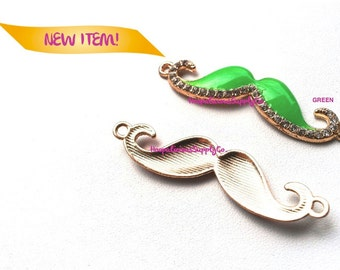 54mm MUSTACHE Connector--WITH RHINESTONES. Pick Color- Pink,White,Blue,Green,Black,Red. Tracking Incl. 4 Domestic Buyers.
