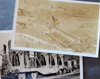 Vintage 1937 Grand Coulee Dam Concrete Train and Dam Postcards Free Shipping in the USA