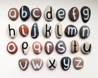 Alphabet Magnets, Beach Pebbles by Happy Emotions, Educational Toy for Kids, Homeschooling, Cheap Gift Ideas, Sea Stones, Rocks