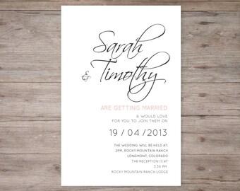 Wedding invitation classic calligraphy theme DIY print
