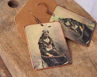 Native American inspired earrings Chief Bone Necklace mixed media jewelry