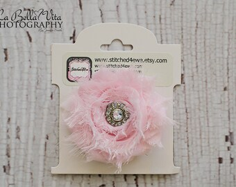 READY TO SHIP Baby Pink Bow, Light Pink Shabby Chic Rhinestone Clip, Girls Clip, Baby Hair Clip, Hot Pink Flower Clip, Hot Pink Rhinestone