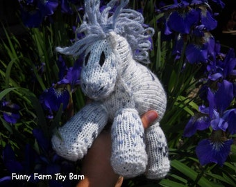 Buddy: Knitted Pony Stuffed Animal Horse Natural Waldorf Inspired Eco Friendly Toy