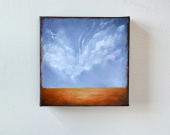 Oil painting, landscape, clouds, neutral home decor, wall art - Stormscape series sixtytwo