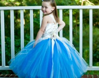 Flower Girl Tutu Dress Floor Length Sewn Tutu Dress Royal Blue and Ivory with Satin Corset Style Top and Satin Flower Hair Clip CUSTOMIZABLE
