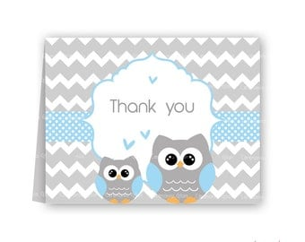 Baby shower thank you cards owl blue and grey chevron PRINTABLE