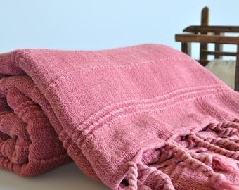 Turkish Beach and Bath Towel Multipurpose Vintage Inspired Handwoven Peshtemal Towel in Rose Pink