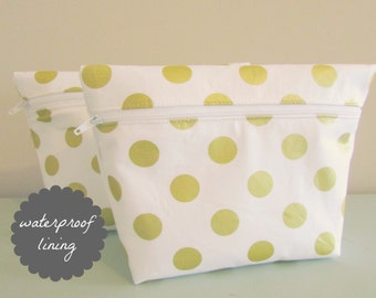 Polka Dot Makeup Bag - Glitz Fabric -  Cosmetic Bag - Waterproof Bag - Wet Bag