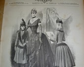 Antique Fashion Magazines French Revue de la Mode Dated Feb 1886