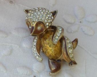 Brooch - Raccoon - Figural Pin - Rhinestone - Enamel - 1960s Vintage