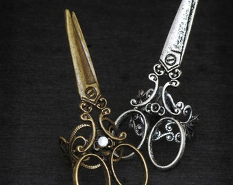 CUT ME UP Edgy Distressed Silver or Bronze Scissor Ring Adjustable Band 5-9