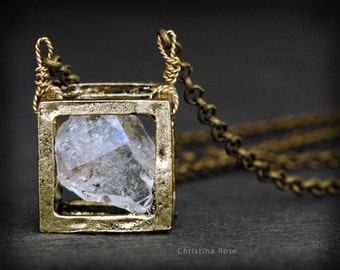 RAW HERKIMER DIAMOND Necklace- Floating Cube Pendant, Natural Geode
