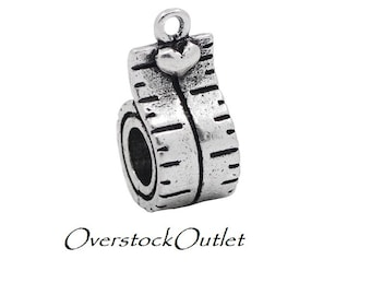 2 Antiqued Silver Tape Measure with Heart Charm with Big Hole for use as an European Bead - AG702